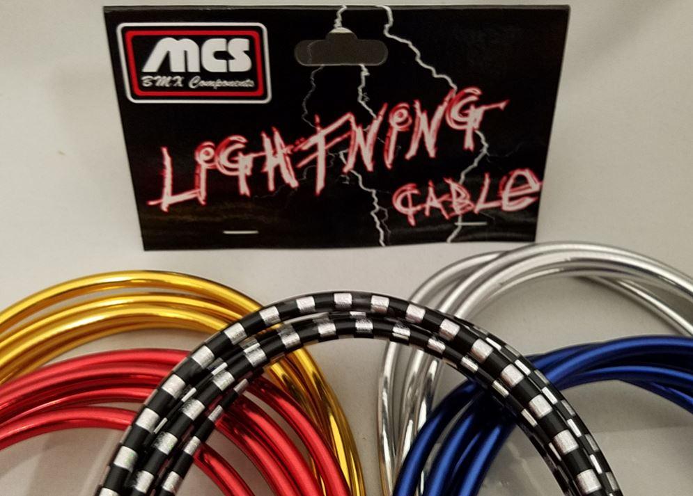 """Red Chrome MCS Lightning BMX Brake Cable 60/""""-65/"""""""